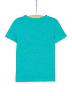 T-shirt turquesa em algodão criança menino LOJOTI3 / 21S90231TMCC215