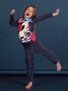 Pijama em veludo com padrão unicórnio fosforescente menina MEFAPYJORN / 21WH1181PYJ070