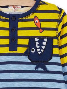 T-shirt amarelo e azul às riscas criança menino LONAUTEE1 / 21S902P2TML000