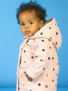 Impermeável rosa às bolas dourado bebé menina MIGOIMP / 21WG0951IMPD332