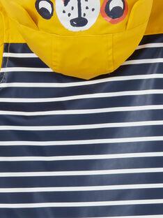 Impermeável com capuz amarelo e azul às riscas bebé menino LUGROIMP / 21SG10R1IMP106