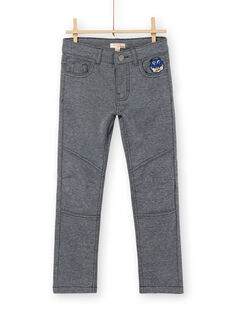 Calças azuis noite e cinzentas mescladas de malha menino LOBLEPAN2 / 21S902J2PAN705