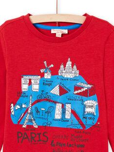 T-shirt de mangas compridas vermelha padrão mapa de Paris menino MOJOTEE3 / 21W9022ATML505