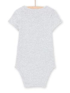 Body de mangas curtas cinzento mesclado com padrão panda bebé menino MEGABODPAN / 21WH14B1BDLJ920