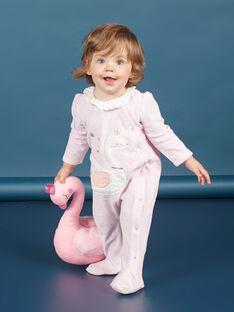 Babygro em veludo rosa mesclado com padrão cisne bebé menina MEFIGRESWA / 21WH1385GRED314
