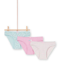 Lote de 3 cuecas rosa, azul e cru criança menina LEFALOT6 / 21SH1124D5L320