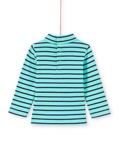 Camisola interior turquesa e azul-marinho às riscas bebé menino MUJOSOUP1 / 21WG10N2SPL209