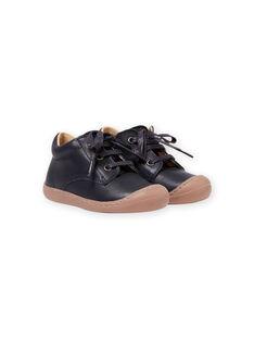 Sapatos em couro azul-marinho com atacadores bebé menino MUBOTIFLEXLACE / 21XK3851D0F070