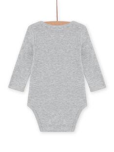 Body de mangas compridas cinzento mesclado com padrão ouriço bebé menino MEGABODSON / 21WH14C5BDLJ922