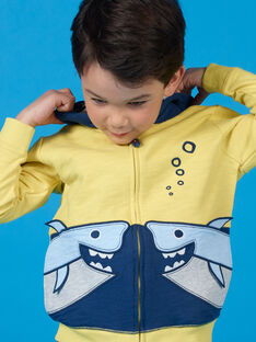 Sweat com capuz amarelo e azul - Criança menino LONAUGIL / 21S902P1GILB102