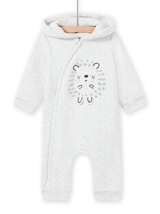 Macacão com capuz cinzento mesclado padrão ouriço recém-nascido unissexo MOU1COM1 / 21WF0541CBLJ920