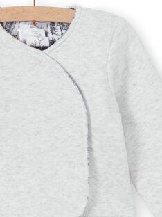 Casaco reversível revestido com uma face lisa cinzento mesclado e face estampado selva LOU1VEST / 21SF05H1VES000