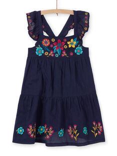 Vestido azul-marinho estampados flores coloridas criança menina LAMUMROB4 / 21S901Z2ROBC211