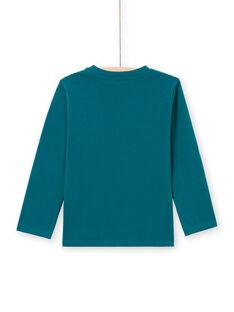 T-shirt de mangas compridas azul com padrão de tiranossauro menino MOTUTEE6 / 21W902K6TML714