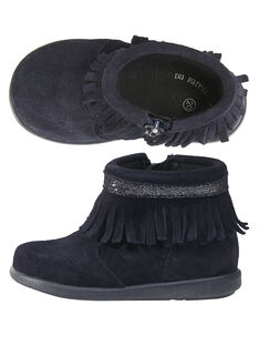 Boots crosta de couro azul-marinho com franjas bebé menina GBFBOOTINDM / 19WK37X1D0D070