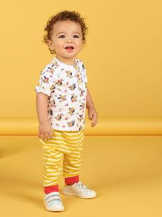 T-shirt cru com estampado cães e decorativos em algodão bebé menino LUNOTUN / 21SG10L3TML001