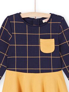 Vestido de mangas compridas bicolor azul noite e amarelo menina MAJOROB5 / 21W90123ROBC205
