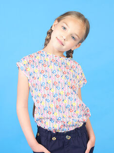 T-shirt rosa e azul às riscas e estampado florido criança menina LAHATI2 / 21S901X2TMC001