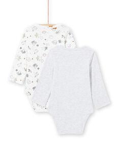 2 bodies branco e cinzento recém-nascido unissexo MOU1BOD3 / 21WF0541BODJ920