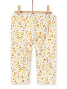 Leggings forradas cru e amarelas estampado florido bebé menina LINAUPAN / 21SG09L1PAN001