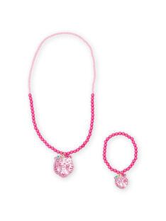 Colar e pulseira em pérolas rosas com pendente tigre menina MYAJOCOU2 / 21WI01S2CLI961