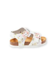 Sandálias branco com fivelas e estampado ananás bebé menina LBFNUANAS / 21KK3751D0E000