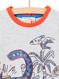 T-shirt cinzento mesclado de mangas compridas padrões dinossauros bebé menino MUPATEE3 / 21WG10H2TML943