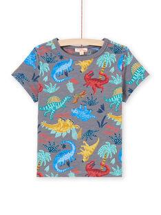T-shirt cinzento mesclado estampado dinossauro menino MOPATI3 / 21W902H1TMCJ913
