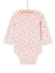 Body recém-nascido menina de mangas compridas rosa estampado florido LEFIBODPLU / 21SH132BBDLD329