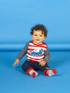 T-shirt vermelha e branca às riscas bebé menino LUHATEE2 / 21SG10X1TMLF517