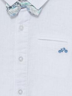 Camisa de linho branco menino com laço amovível JOPOECHEM / 20S902G2CHM000