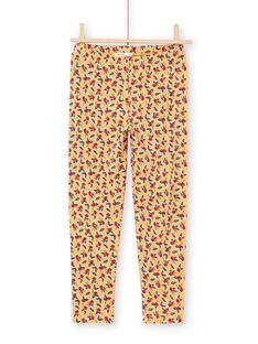 Leggings mostarda com estampado florido menina MYAMIXLEG1 / 21WI01J2CALB106