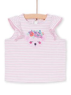 T-shirt rosa e branca às riscas bebé menina LIVITI / 21SG09U1TMC320