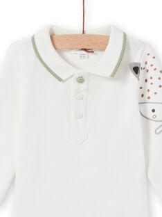 Body de mangas compridas cru com padrão raposa recém-nascido menino MOU1BOD5 / 21WF0441BOD001