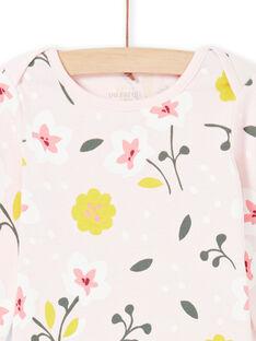 Body rosa pálido e amarelo estampado florido bebé menina MEFIBODFLE / 21WH13B7BDL301