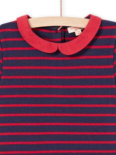 Vestido milano às riscas mangas curtas vermelho e azul-noite menina MAJOROB2 / 21W90126ROBC205