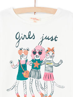 T-shirt mangas compridas cru com padrões animais decorativos menina MAKATEE4 / 21W901I3TML001