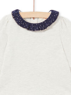 T-shirt bege mesclada e azul-marinho bebé menina MIJOBRA4 / 21WG0912BRAA011