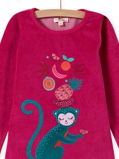Conjunto pijama T-shirt e calças em veludo com estampado tropical menina MEFAPYJMON / 21WH1183PYJD312