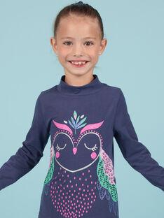 Camisola interior azul-marinho com padrão coruja com purpurinas menina MAPLASOUP / 21W901O1SPLC202
