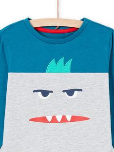 Conjunto pijama T-shirt e calças cinzento mesclado e azul menino MEGOPYJMAN1 / 21WH1272PYGJ922