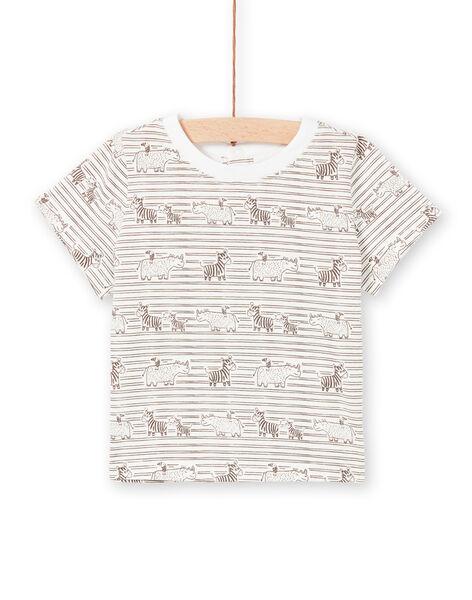 T-shirt cru e castanho às riscas bebé menino LUTERTI3 / 21SG10V3TMC001
