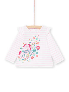 T-shirt mangas compridas lilás às riscas com padrão unicórnio bebé menina MITUTEE1 / 21WG09K1TMLH700