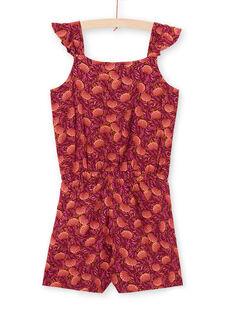 Macacão bordô e laranja estampado folhagem menina LATERCOMBI / 21S901V1CBL719