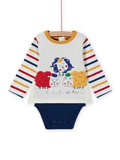 Body T-shirt multicor com padrão de ovelhas bebé menino MUMIXBOD2 / 21WG10J1BOD001