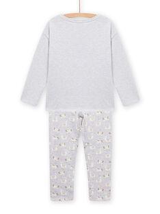 Pijama em moletão cinzento mesclado com padrão de lama fosforescente menina MEFAPYJLAM / 21WH1194PYJJ920