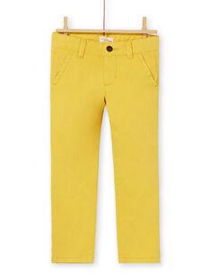 Calças chino amarelas em algodão criança menino LOJOPACHI1 / 21S90231PAN102