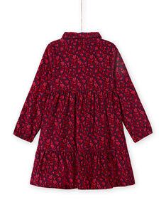 Vestido azul com gola de camisa e estampado florido menina MAFUNROB3 / 21W901M2ROBH703