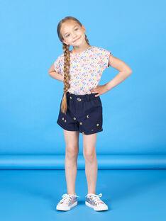 Calções azul-marinho estampado florido criança menina LAHASHORT / 21S901X1SHO070