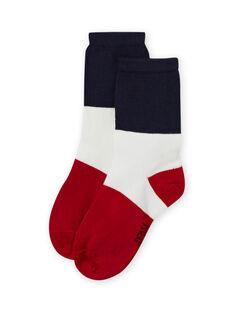 Meias tricolor azul e vermelho menino MYOJOCHOC3 / 21WI0213SOQ705